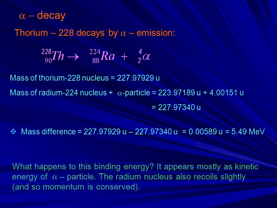 a - decay Thorium – 228 decays by a – emission: