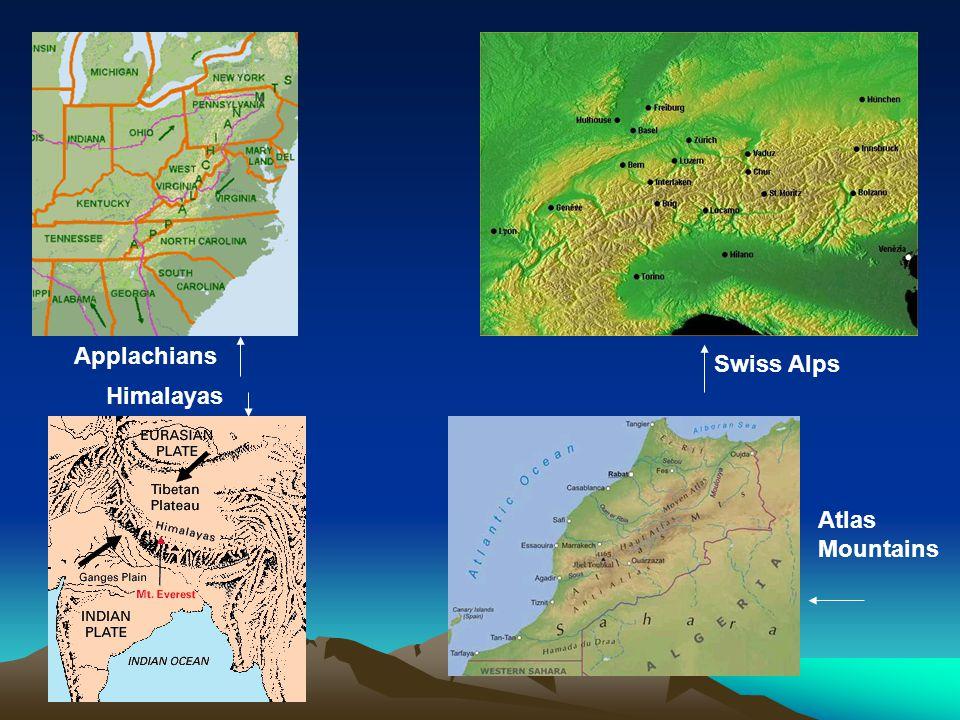Applachians Swiss Alps Himalayas Atlas Mountains