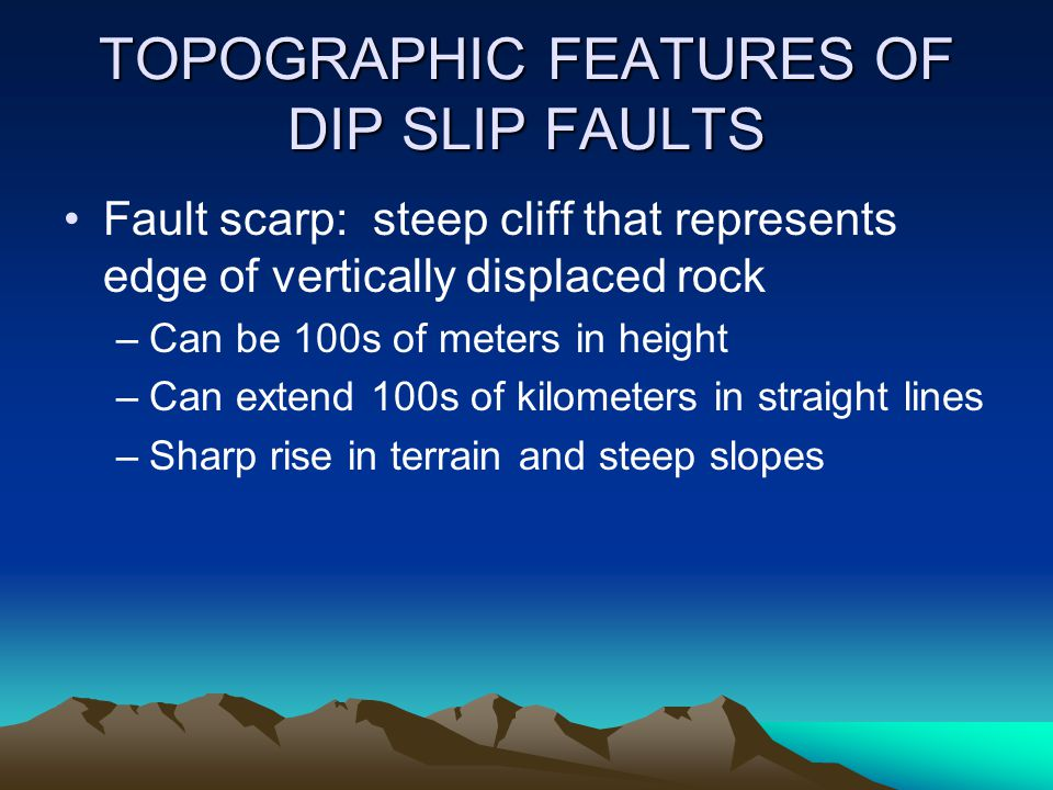 TOPOGRAPHIC FEATURES OF DIP SLIP FAULTS