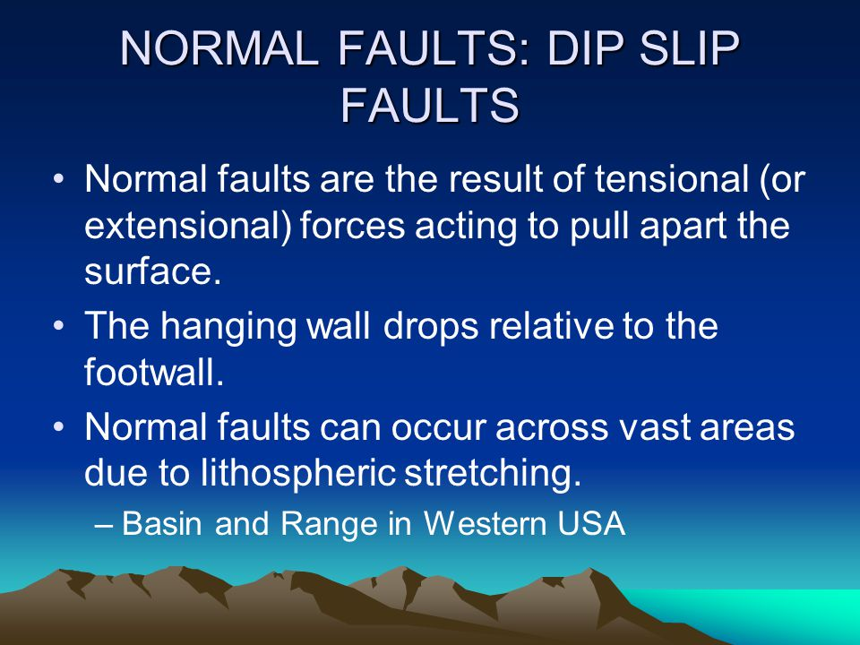 NORMAL FAULTS: DIP SLIP FAULTS