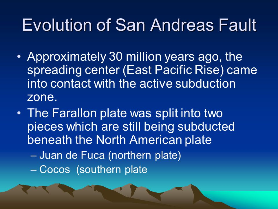 Evolution of San Andreas Fault