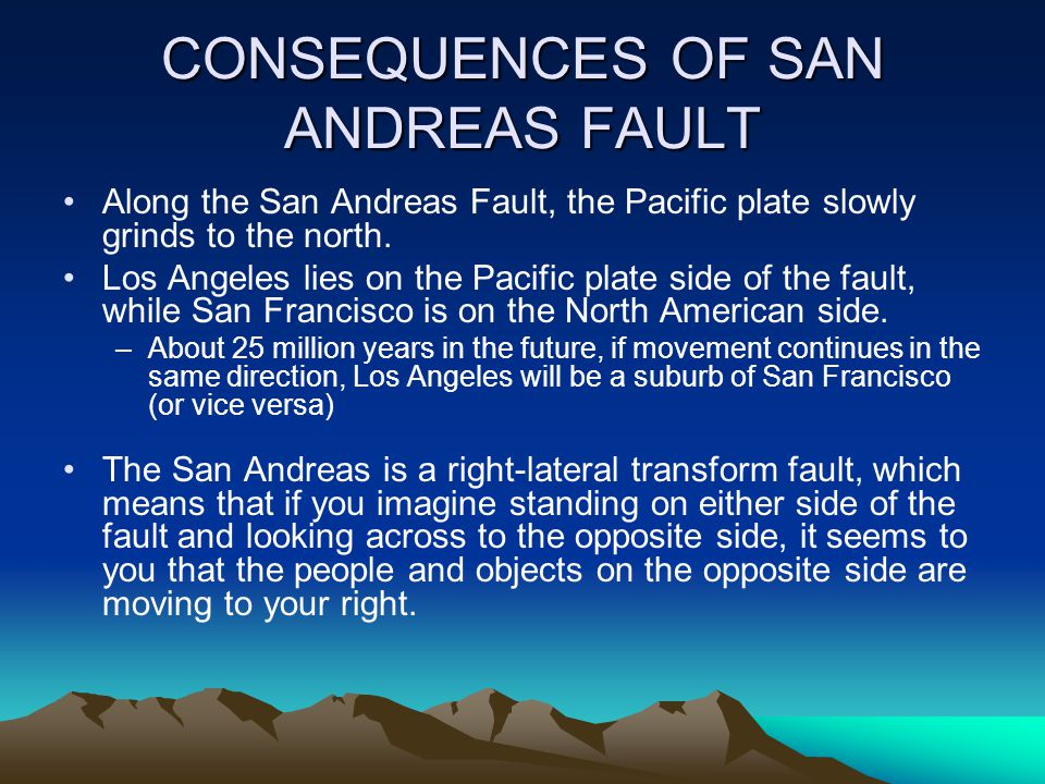 CONSEQUENCES OF SAN ANDREAS FAULT
