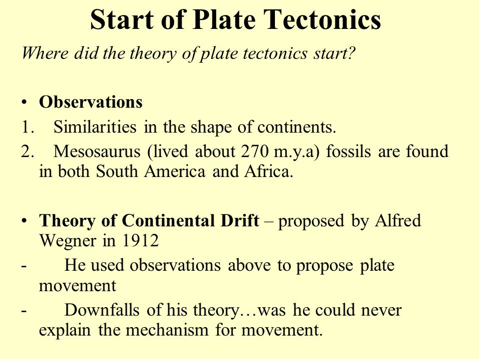 Start of Plate Tectonics