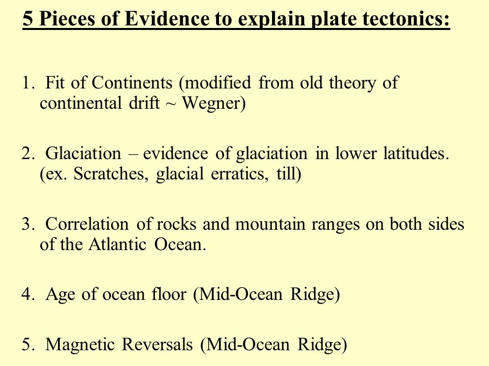5 Pieces of Evidence to explain plate tectonics:
