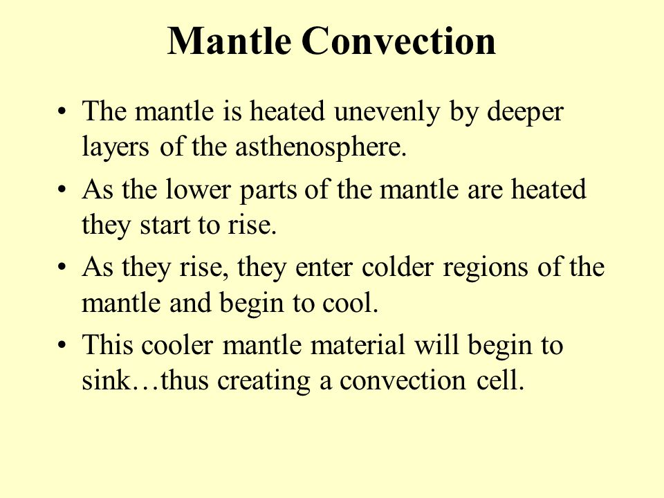 Mantle Convection The mantle is heated unevenly by deeper layers of the asthenosphere.