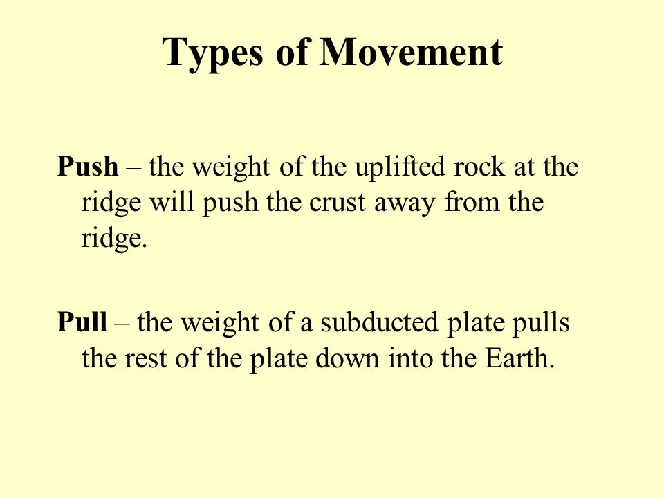 Types of Movement Push – the weight of the uplifted rock at the ridge will push the crust away from the ridge.