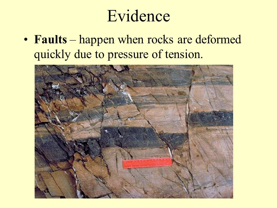 Evidence Faults – happen when rocks are deformed quickly due to pressure of tension.
