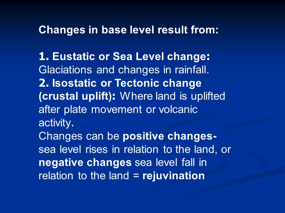 Changes in base level result from:
