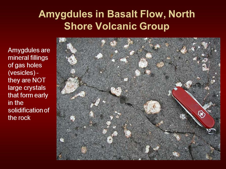 Amygdules in Basalt Flow, North Shore Volcanic Group
