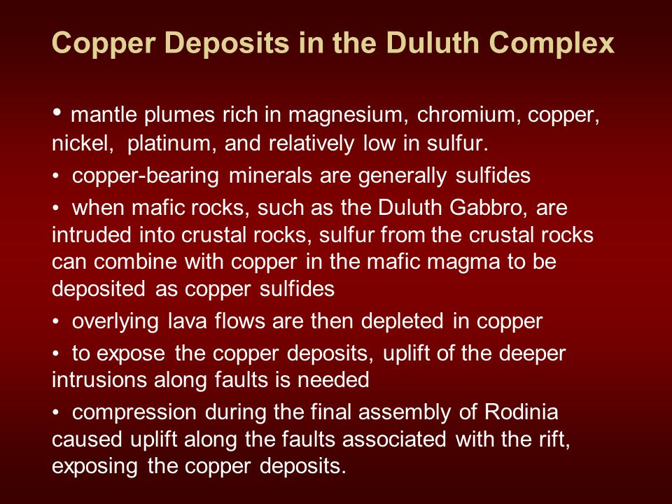 Copper Deposits in the Duluth Complex