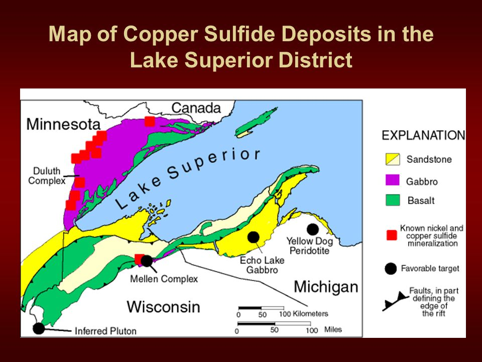 Map of Copper Sulfide Deposits in the Lake Superior District