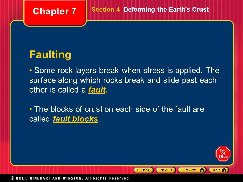 Chapter 7 Section 4 Deforming the Earth's Crust. Faulting.