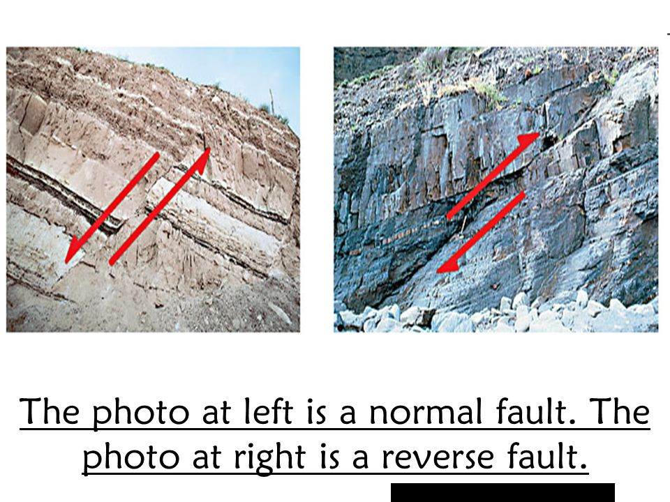 The photo at left is a normal fault