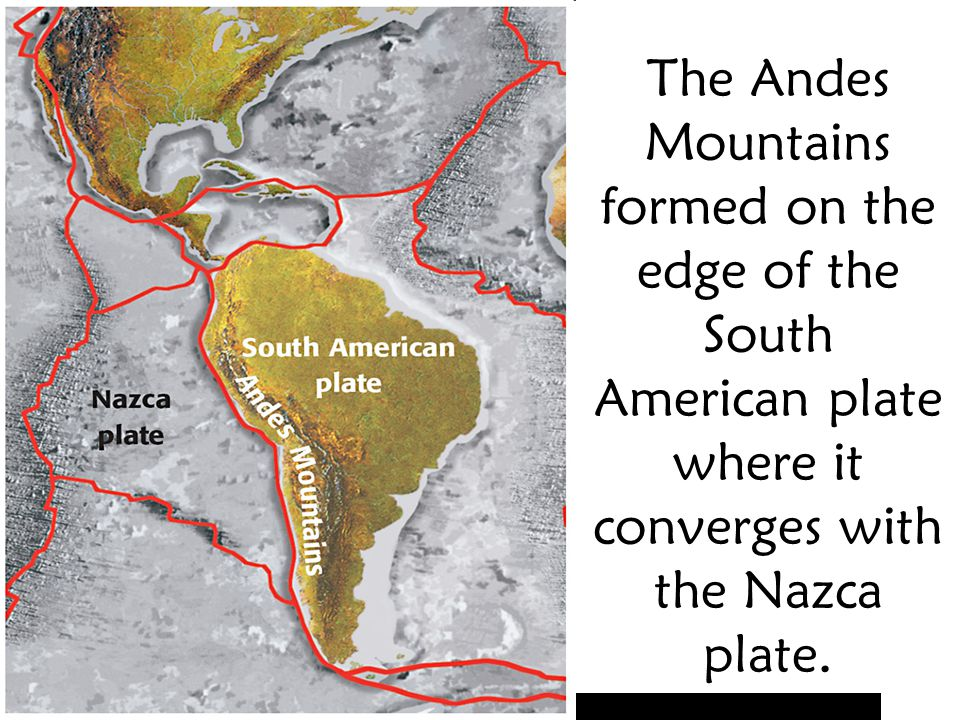 The Andes Mountains formed on the edge of the South American plate where it converges with the Nazca plate.
