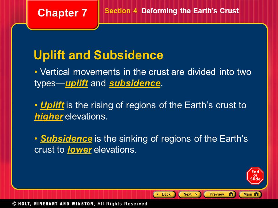 Uplift and Subsidence Chapter 7