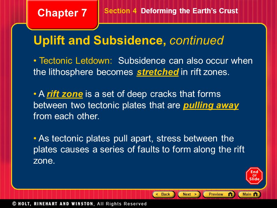 Uplift and Subsidence, continued