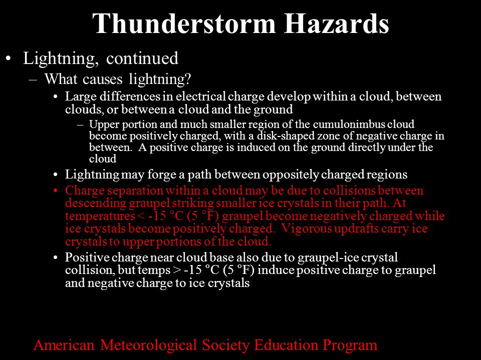 Thunderstorm Hazards Lightning, continued What causes lightning