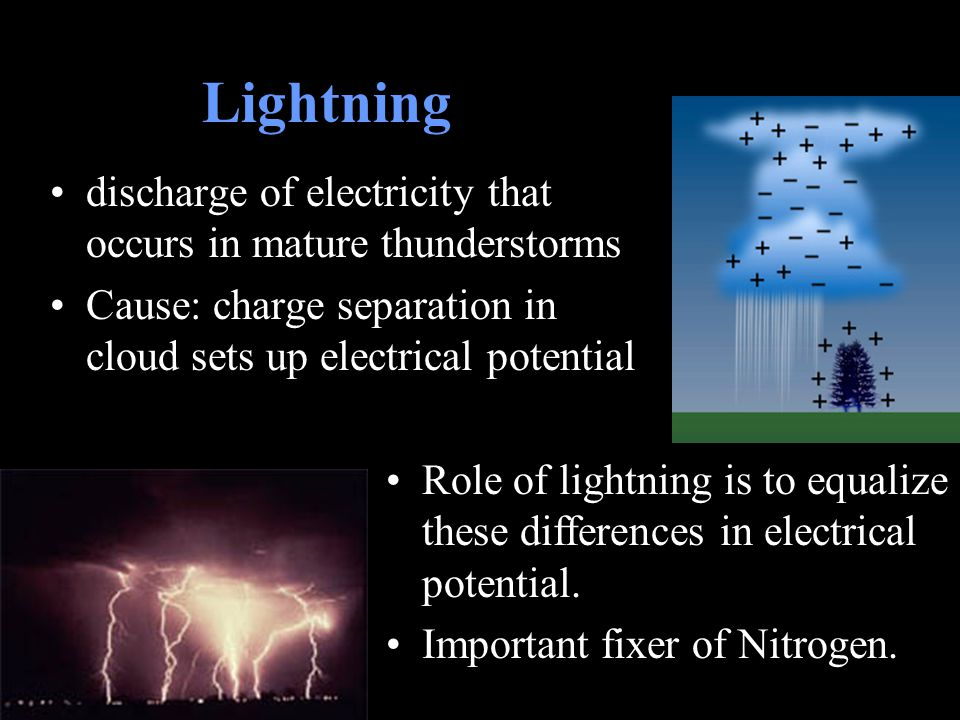 Lightning discharge of electricity that occurs in mature thunderstorms