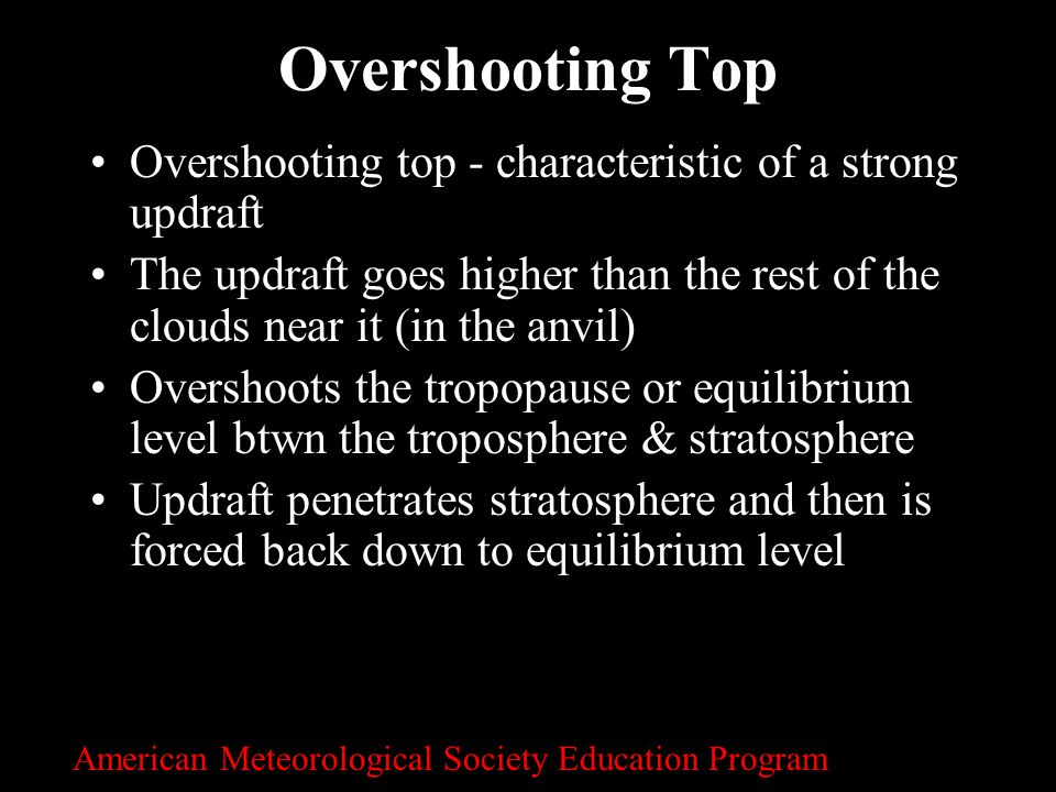 Overshooting Top Overshooting top - characteristic of a strong updraft