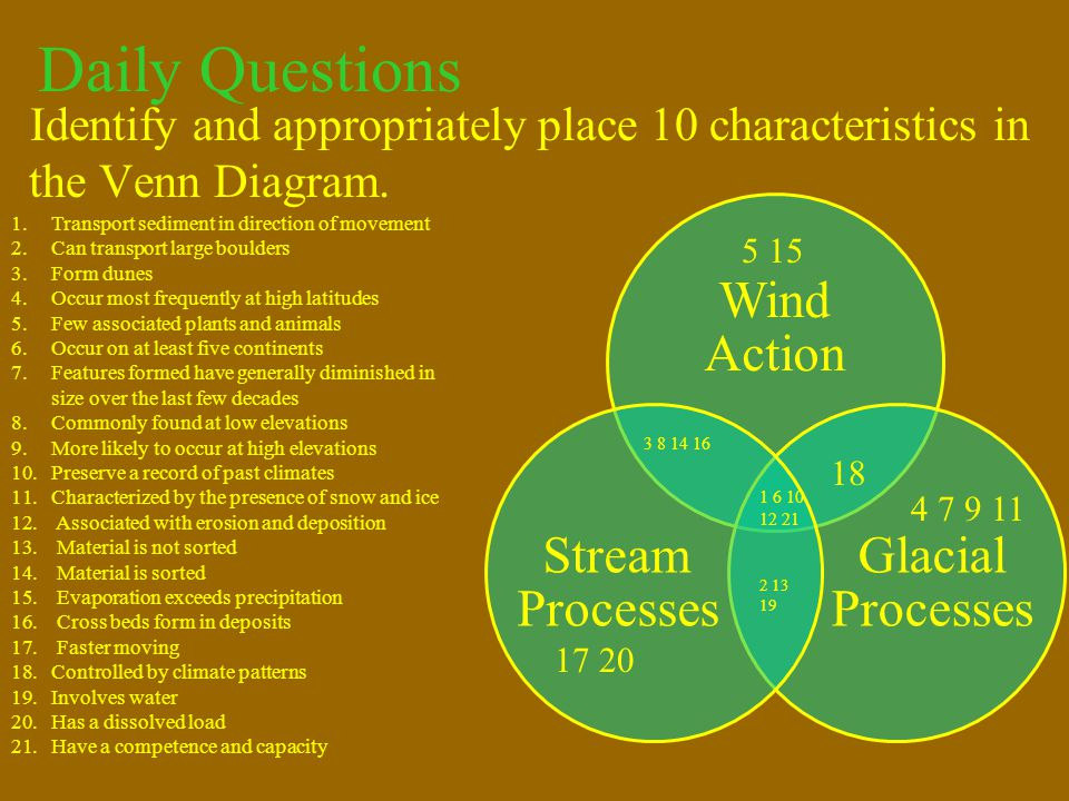 Daily Questions Identify and appropriately place 10 characteristics in the Venn Diagram. Wind Action.