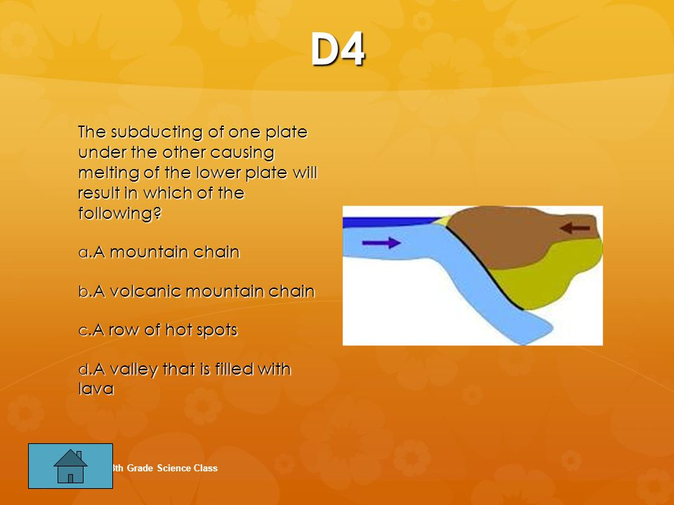 D4 The subducting of one plate under the other causing melting of the lower plate will result in which of the following