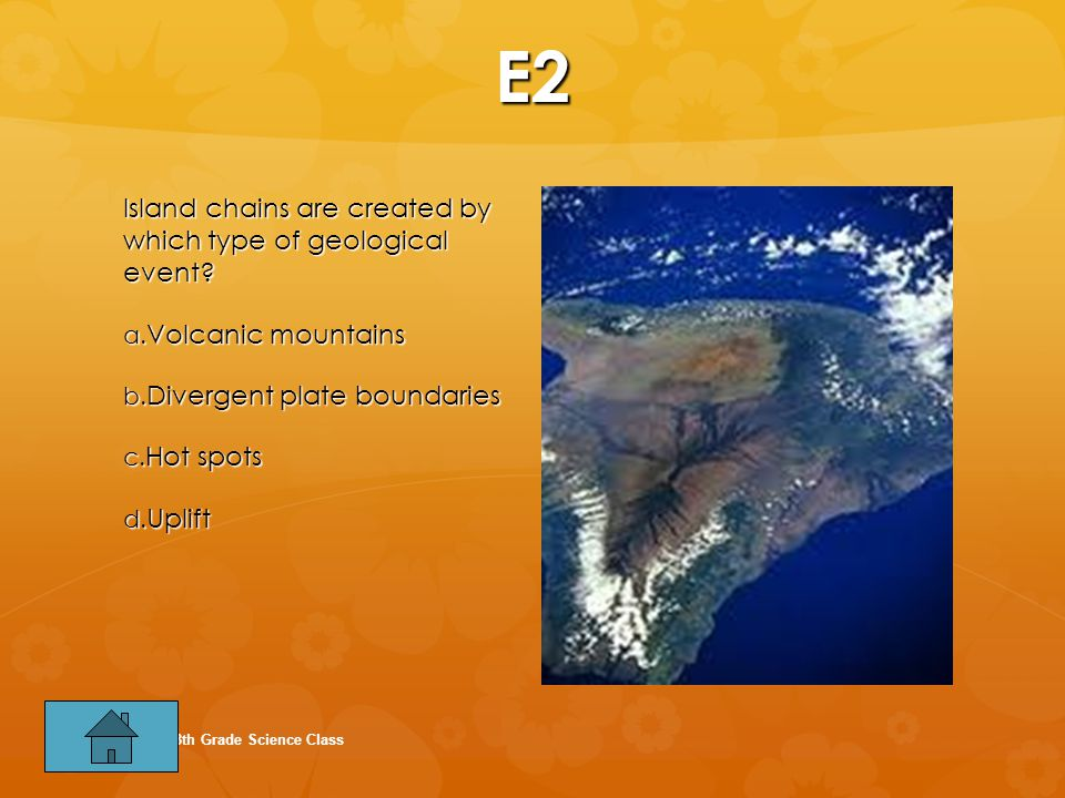 E2 Island chains are created by which type of geological event