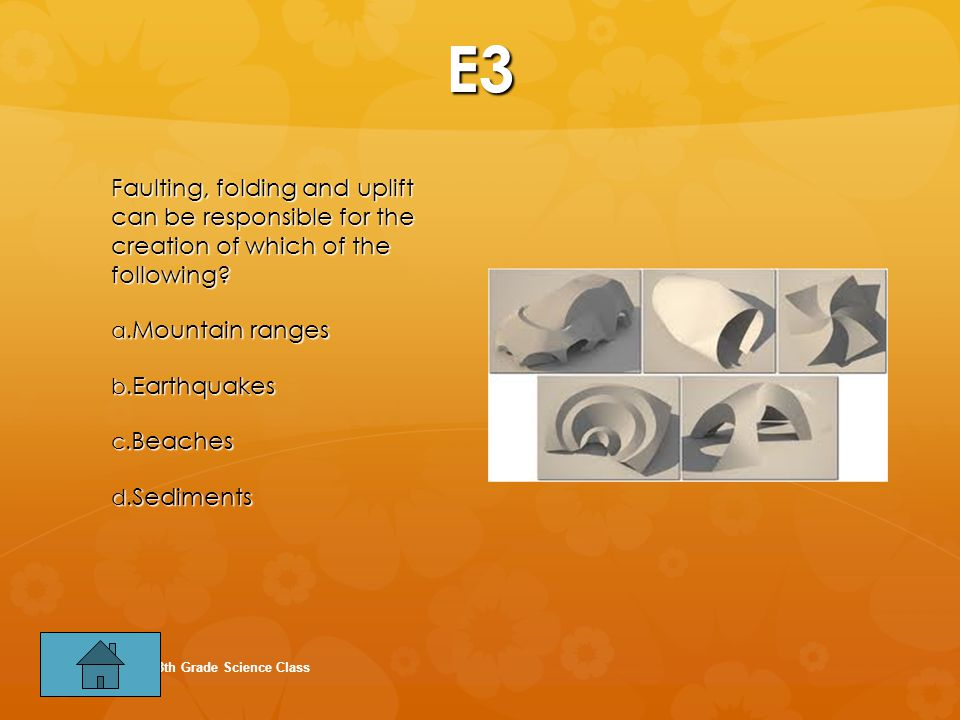 E3 Faulting, folding and uplift can be responsible for the creation of which of the following Mountain ranges.