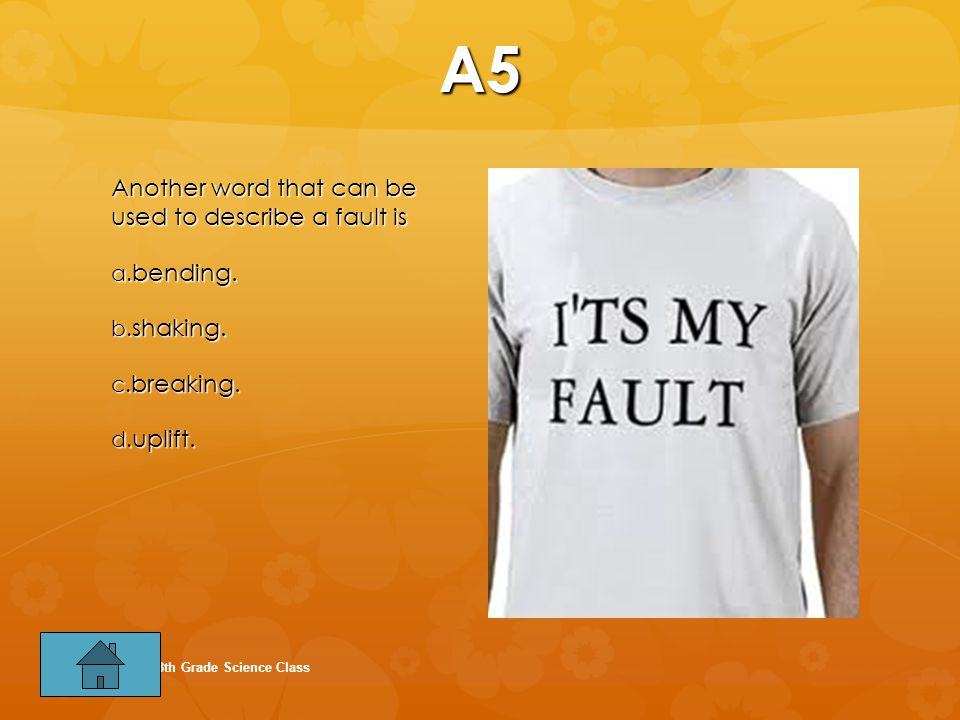 A5 Another word that can be used to describe a fault is bending.