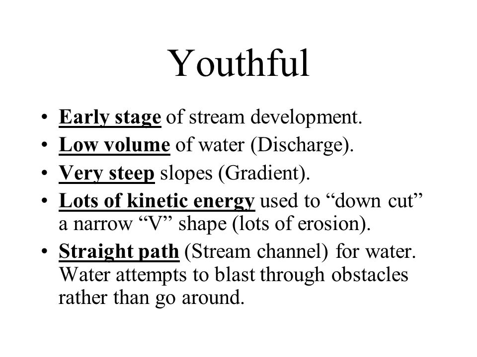 Youthful Early stage of stream development.