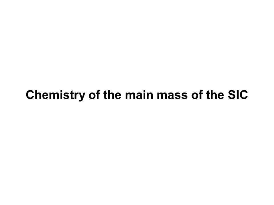 Chemistry of the main mass of the SIC