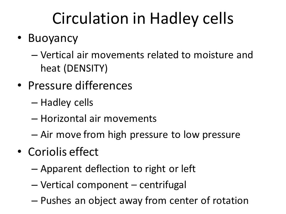 Circulation in Hadley cells