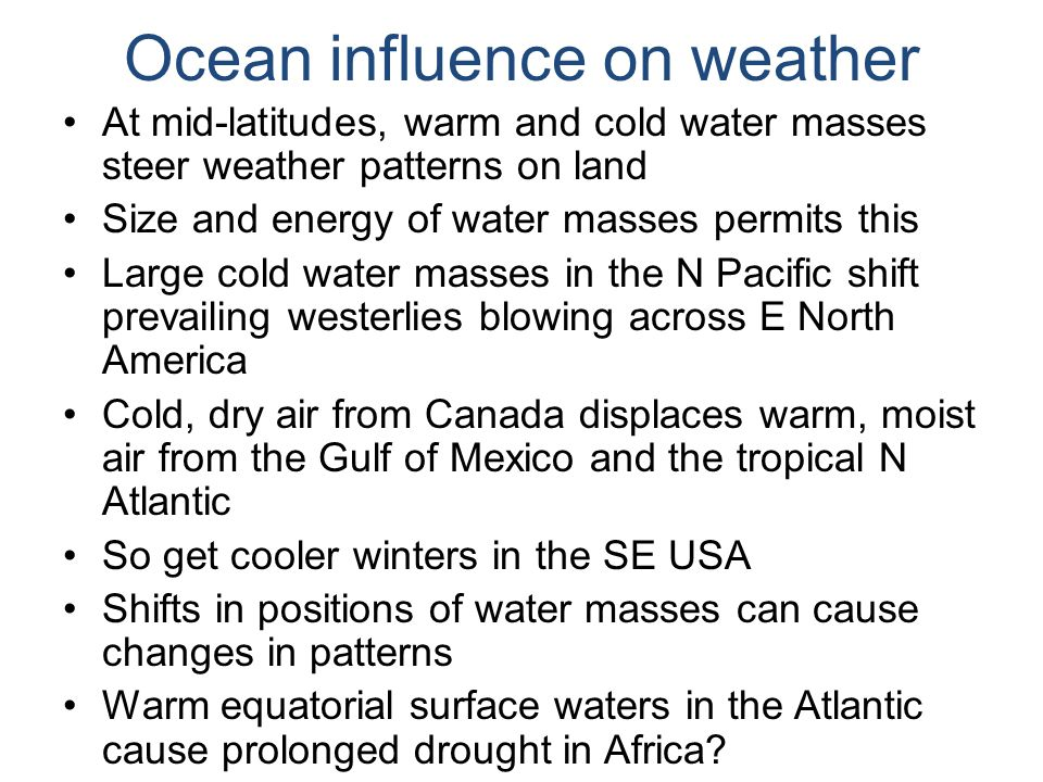Ocean influence on weather