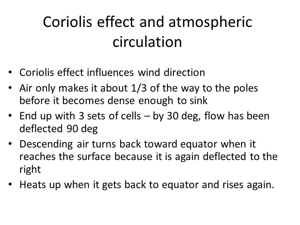 Coriolis effect and atmospheric circulation