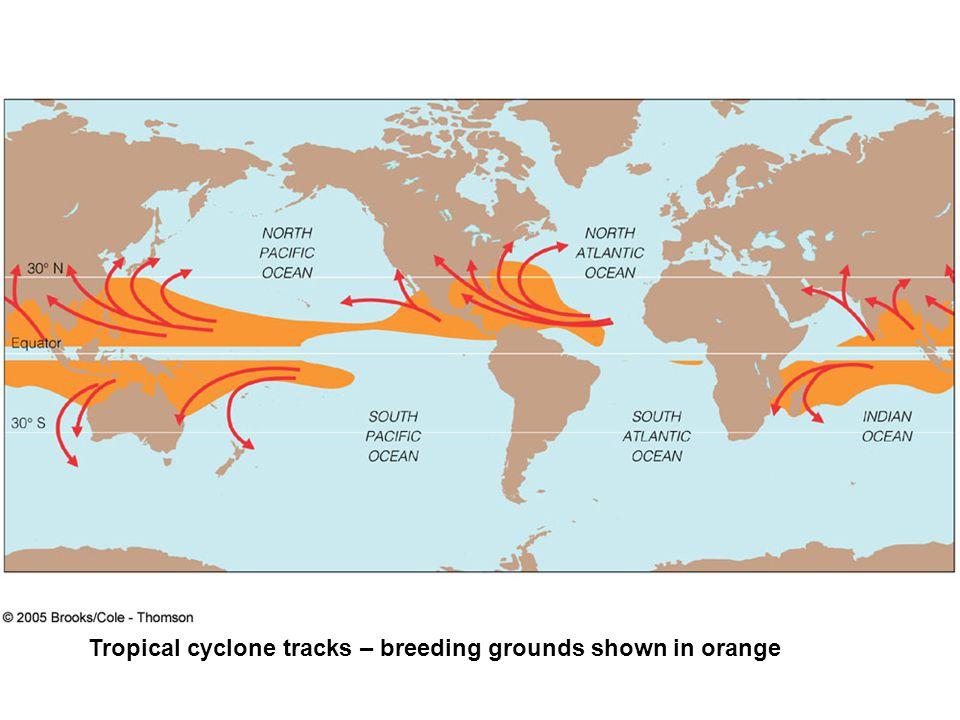Tropical cyclone tracks – breeding grounds shown in orange