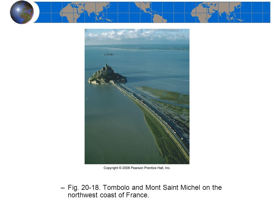 Fig. 20-18. Tombolo and Mont Saint Michel on the northwest coast of France.