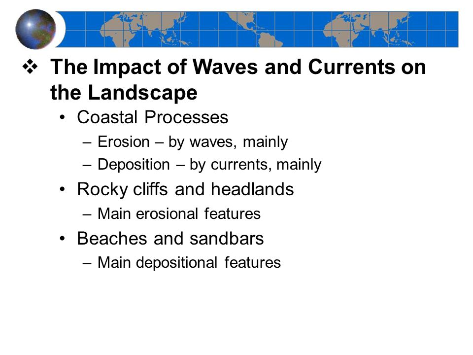The Impact of Waves and Currents on the Landscape