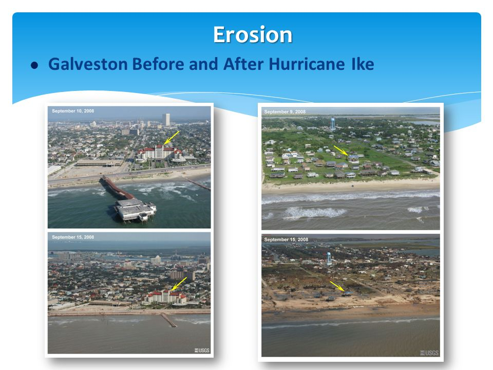 Erosion Galveston Before and After Hurricane Ike