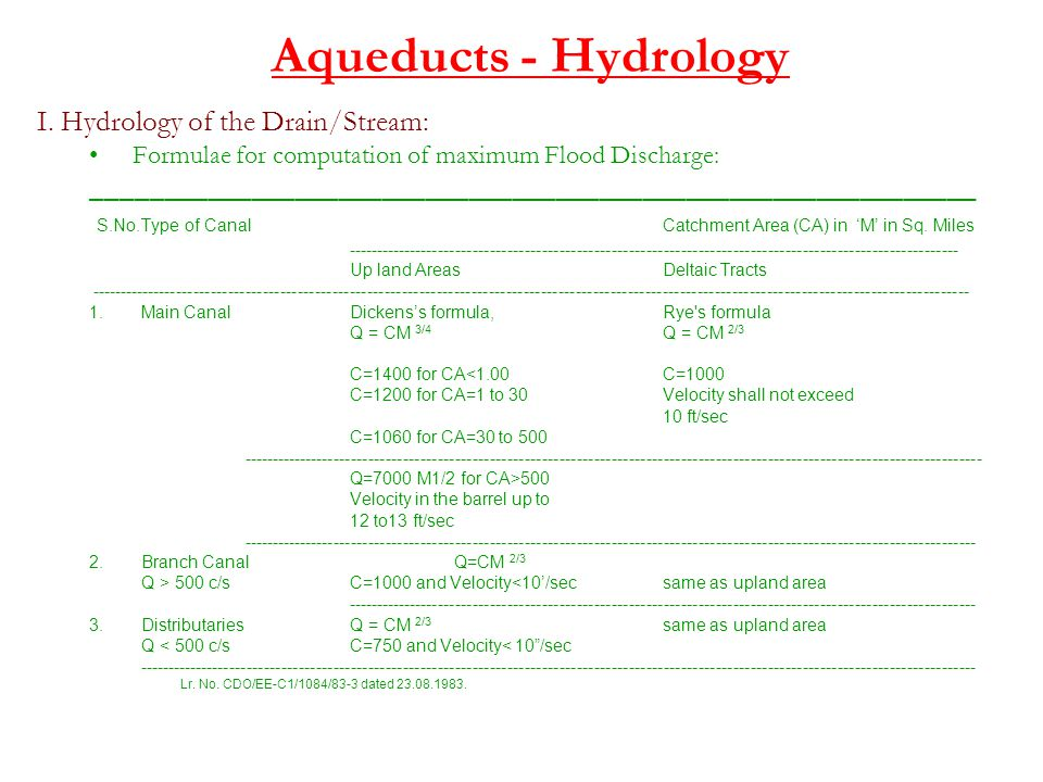 Aqueducts - Hydrology I. Hydrology of the Drain/Stream: