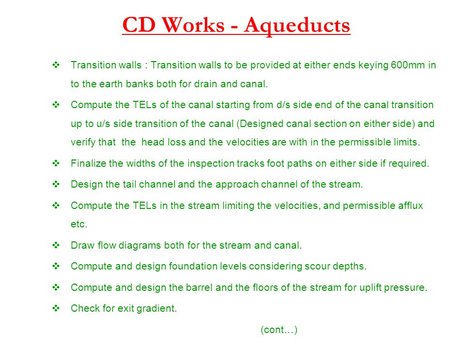 CD Works - Aqueducts Transition walls : Transition walls to be provided at either ends keying 600mm in to the earth banks both for drain and canal.