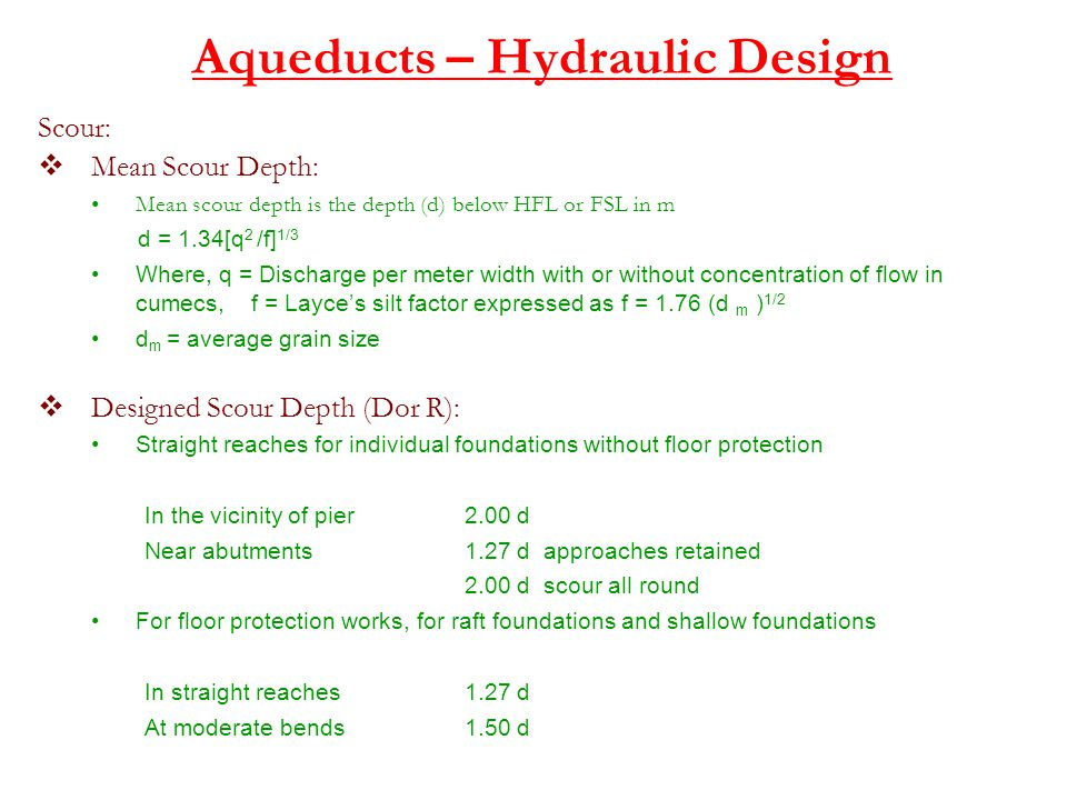Aqueducts – Hydraulic Design