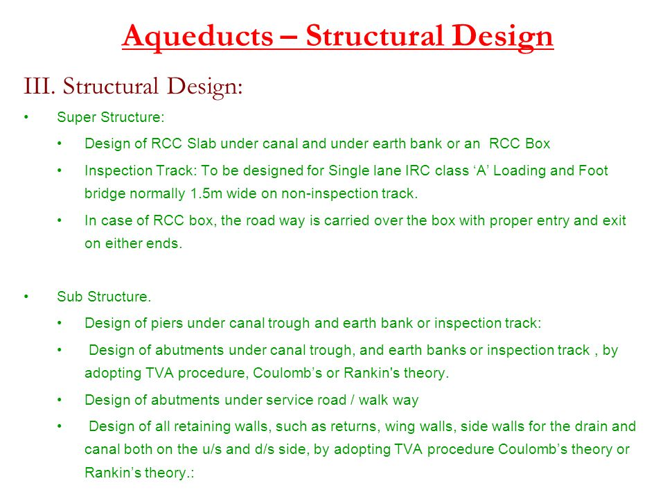 Aqueducts – Structural Design