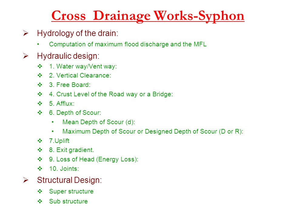 Cross Drainage Works-Syphon