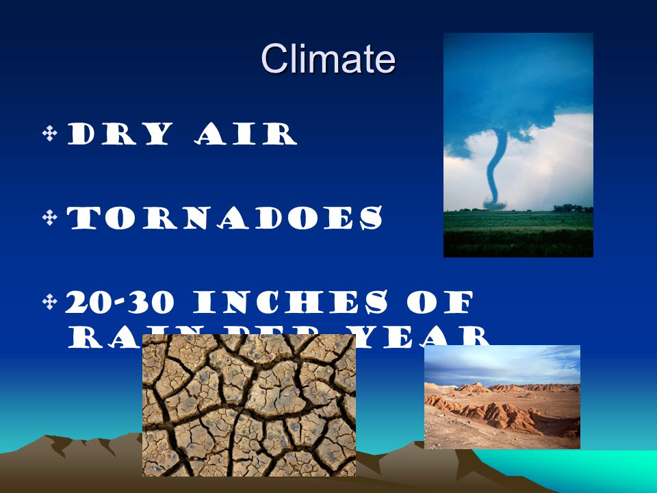Climate Dry air Tornadoes 20-30 inches of rain per year