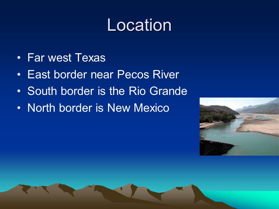 Location Far west Texas East border near Pecos River