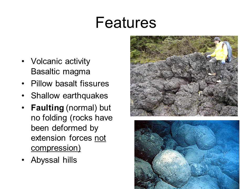 Features Volcanic activity Basaltic magma Pillow basalt fissures
