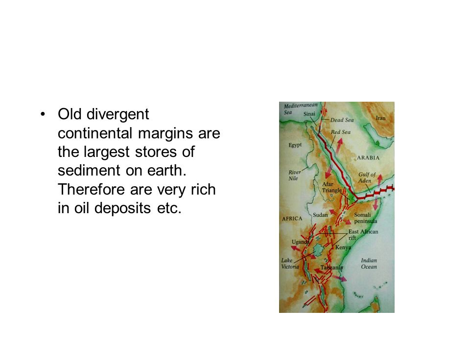 Old divergent continental margins are the largest stores of sediment on earth.