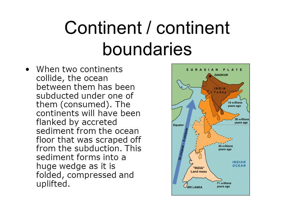 Continent / continent boundaries