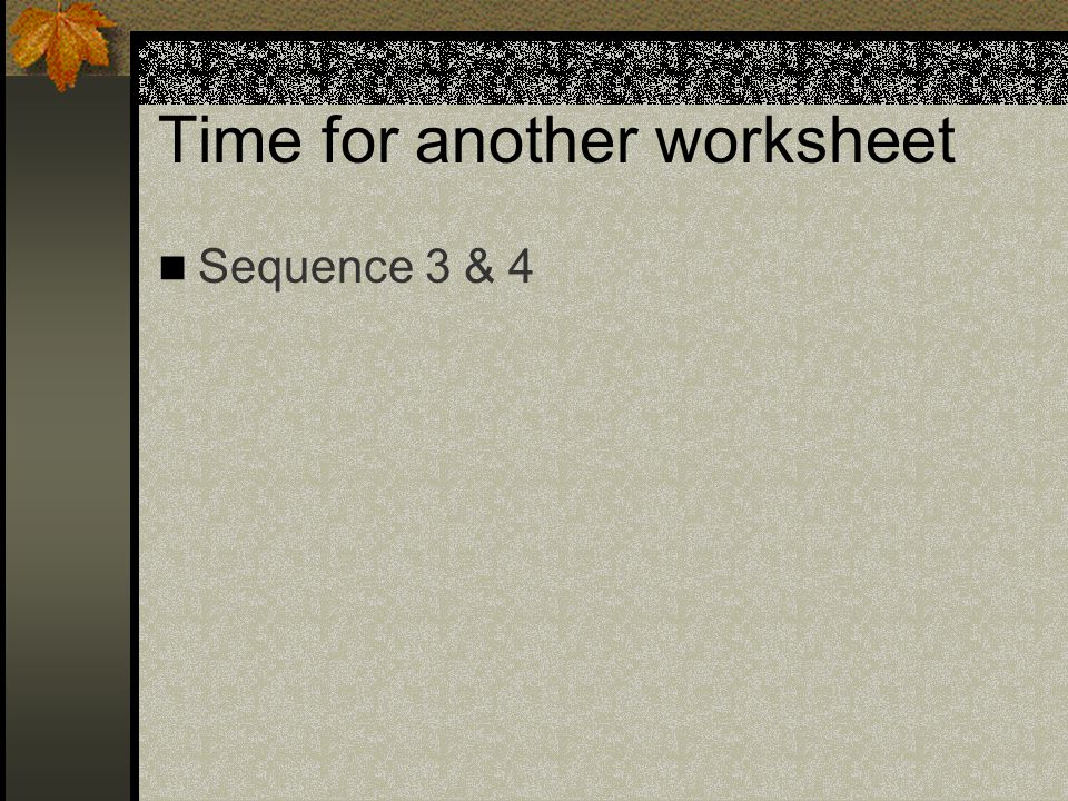 Time for another worksheet