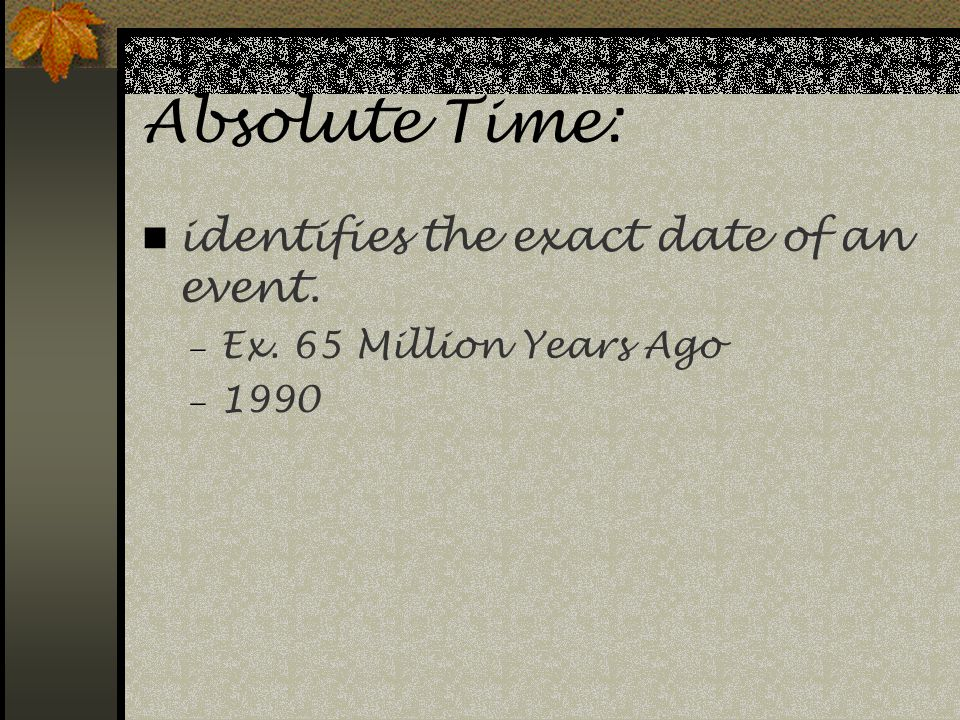 Absolute Time: identifies the exact date of an event.