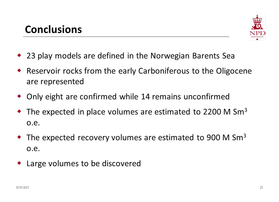 Conclusions 23 play models are defined in the Norwegian Barents Sea